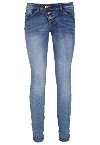 Rock Angel Skinny Fit Blue Jeans - 5-Pocket Denim Damen Röhrenjeans mit schräger Knopfleiste garantiert die perfekte Passfom Middle-Blue L