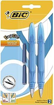 BIC EasyClic Stylos-Plume Rechargeables - Violet, Bleu ou Turquoise (sans choix possible), Blister de 2 + 2 Pe