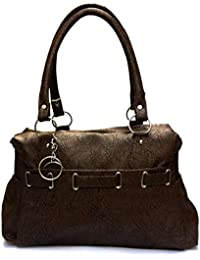 Latest Beautiful Stylish Famous Casual Daily Dark Brown Leather HandBag / Purse / Shoulder Bag With Double Hand...