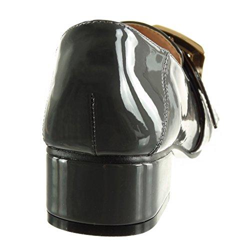 Angkorly - damen Schuhe Mokassin - Slip-On - Patent - Schleife - String Tanga Blockabsatz high heel 4 CM Grau