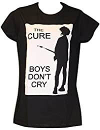 Ladies The Cure 'Boys Don't Cry' T Shirt in Black