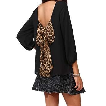 better.dealz - Chic Chemises Dos Nu Avec Grand Nœud Papillon Decoré Lâche Mode Sexy Femmes Chiffon Mousseline Chemisier Hauts Blouse Pull Tops T-Shirt (Medium, Noir)