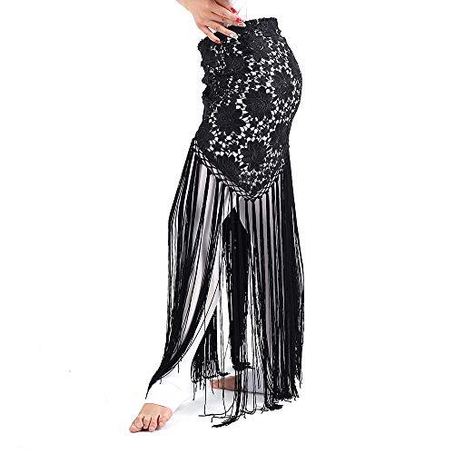 Acqrobe Frauen Bauch Latin Dance Practice Kostüm lange Quasten wickeln Hüftrock Schal (Ägyptischer Bauch Tanz Kostüm)