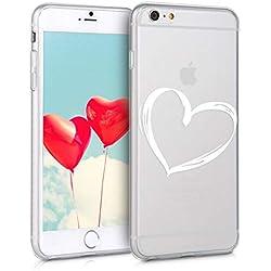 kwmobile Funda para Apple iPhone 6 Plus / 6S Plus - Carcasa de [TPU] para móvil y diseño Dibujo de corazón en [Blanco/Transparente]