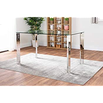 Furniturebox UK Lucia 6 Clear Glass And Chrome Metal Modern Stylish Dining Table And 6 Stylish Lorenzo Dining Chairs Set (Dining Table Only)