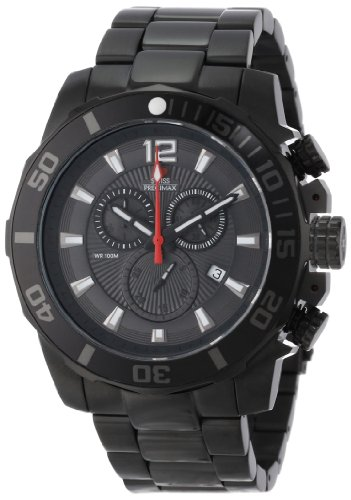 Swiss Precimax Men's Crew Pro SP13253 Black Stainless-Steel Swiss Chronograph Watch with Black Dial