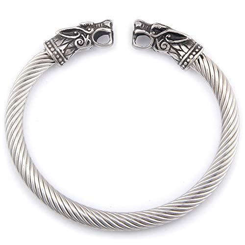 BaviPower Pulsera Hecha a Mano con Cabeza de Lobo ♦ Flexible ♦ Acero Inoxidable ♦ Pulsera nórdica escandinava ♦ Auténtica joyería vikinga