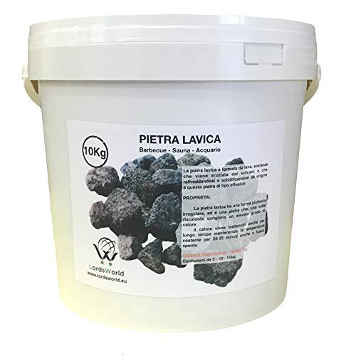 LordsWorld - Pietra Lavica - 10Kg de Pierre de Lave pour la décoration de Barbecue, Sauna et Aquarium - Pierre de Lave pour Barbecue et poêles à gaz - pietralavica-10kg