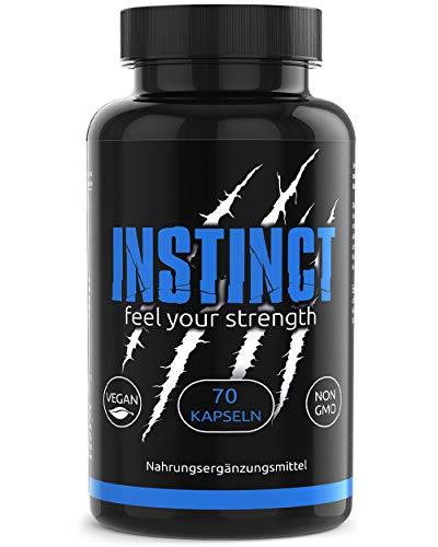 INSTINCT Pre Workout Booster Mit 320 mg Koffein, Guarana und B-Vitaminen für Bodybuilder und Sportler Vegan Trainings und Fitness Booster Made In Germany