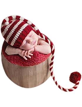[Patrocinado]Gorro de Navidad con cola larga para bebés niño o niña para fotografías
