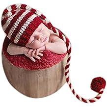 Gorro de Navidad con cola larga para bebés niño o niña para fotografías a83990aa196