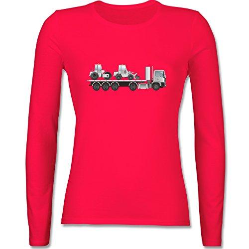Andere Fahrzeuge Tieflader Sattelauflieger Walze Radlader tailliertes  Longsleeve / langärmeliges TShirt für Damen Rot