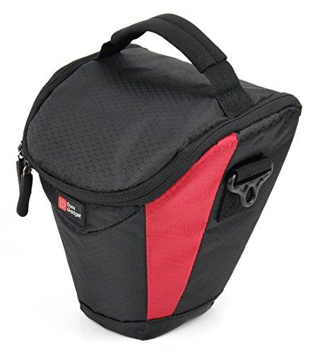 Rot-Schwarze weiche Tasche für Sony SLR Kameras. Kompatibel mit: DSC-RX10M4 7 Alpha 68 A-Mount / Alpha a77 II A-mount / Alpha 77 M2 / Alpha SLT-A77
