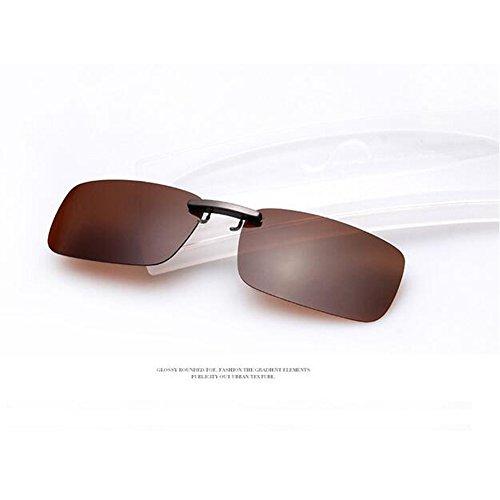 Zimo Polarisierte Unisex Sonnenbrille Clip Brillen Pol Aufsatz für Brillenträger (Braun)