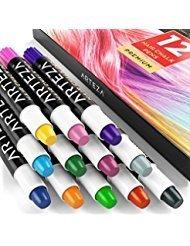Arteza pennarelli colorati a gesso per capelli, tinta temporanea senza decolorazione, 12 pigmenti coloranti lavabili, adatti a uomo, donna e bambini