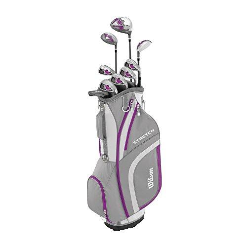 Wilson WGG157554 Ensemble Complet pour Débutant, 9 Clubs de Golf avec Sac de Cart, pour Femme (Main Droite), Stretch XL, Blanc/Gris/Mauve