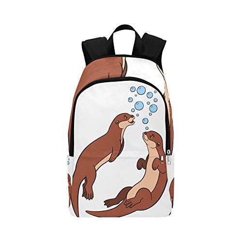 Nette Karikatur-Otter-Paar-Griff-Hände beiläufige Daypack-Reisetasche College School-Rucksack für Männer und Frauen