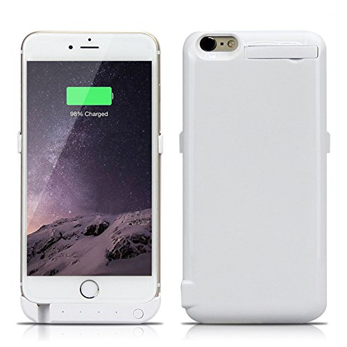 Batterie Coque iPhone 6 / iPhone 6S Plus Cover, Forhouse Battery Externe Rechargeable Case Coque 10000 mAh Li-polymer Power Bank Portable Chargeur avec Kickstand Support Batterie Pack Etui Housse Anti Blanc