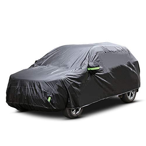 Pujuas Funda para Coche Cubierta Coche SUV Exterior Impermeable Negro (4.8 x 1.9 x 1.8m)