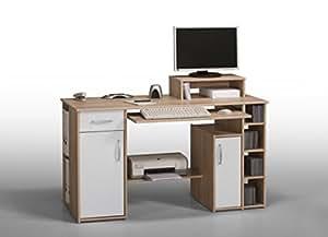 Matelpro-Bureau informatique contemporain chêne sonoma-blanc Saveria