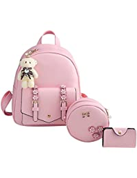 asiproper 3pcs Autumn Winter Women Flower Backpack Messenger Bag Shoulder  Bag Set fe3982a4b305e