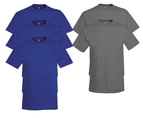 Hanes Men's Tagless Comfortsoft Crewneck T-shirt (Pack of 5) 3 Deep Royal / 2 Smoke Gray