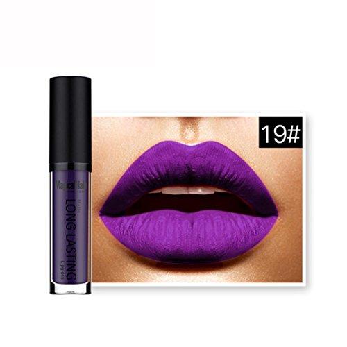 Rouges à lèvres,Covermason Imperméable à l'eau mate liquide rouge à lèvres longue durée Lip Gloss à lèvres (19#)