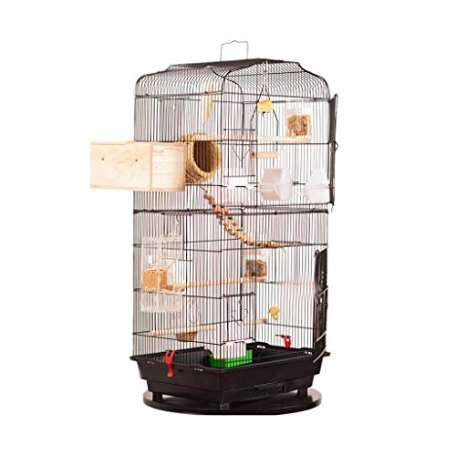 LILY-Käfige Großes Vogel-Landhaus-Metallvogelkäfig-hoher Vogelhaus-Versammlungs-festes Holz-Vogelhaus für Drossel, Papagei, Papagei, Liebes-Vogel (Color : Black) (Papageien-käfig Groß)