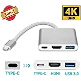 Galaxy Hi-Tech® Usb 3.1 Type-C To Hdtv Hdmi 4K Video Converter For New MacBook ChromeBook Pixel HDTV Projector And More Type-C Devices/Usb3.0 Fast Charging Port For MacBook /Type C Converter Compatible With New Macbook/Chromebook Pixel/Dell Xps13/Yoga