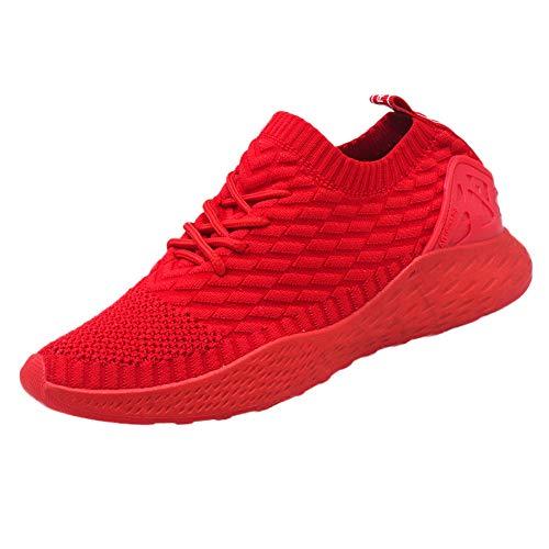 Dorical Fitness Laufschuhe Sportschuhe Schnüren Running Sneaker Netz Gym Schuhe, Ultraleicht Gym Turnschuhe, Herren Sicherheitsschuhe Damen Arbeitsschuhe Turnschuhe Schutzschuhe(Rot,41 EU)