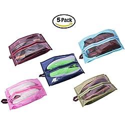 Bolsas para zapatos, Accesorios de viaje 5-Pack nylon resistente al agua con la cremallera para los hombres y de las mujeres
