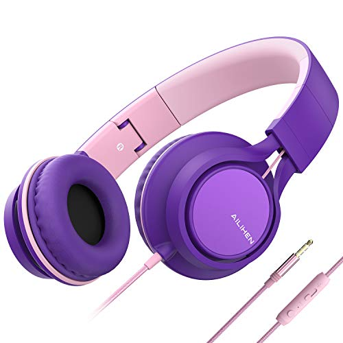 Ailihen C8 Kopfhörer leicht faltbar mit Mikrofon Lautstärkeregelung Musik Headsets 3,5mm für Smartphones PC Laptop Mac MP3 Tablet (Lila Pink)