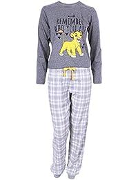 Grey Top & Checked Long Bottoms Pyjama Set For Ladies The Lion King Simba Disney