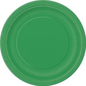 Unique Party -  Platos de Papel - 17.1 cm - Verde Esmeralda - Paquete de 8 (317.154)