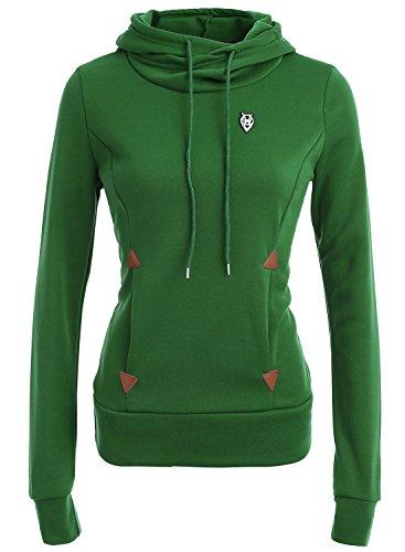 Azbro Women's Solid Turtle Neck Long Sleeve Kangaroo Pocket Sweatshirt Army Green-1