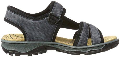 Rieker Damen 68879 Offene Sandalen mit Keilabsatz Blau (jeans/schwarz / 14)