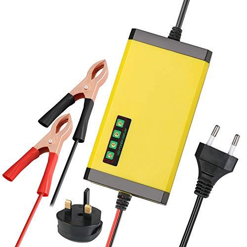 URAQT Batterie Ladegerät Auto, 2A 12V Batterieladegerät Auto Erhaltungsladegerät mit Mehrfachschutz für Autos, Motorräds