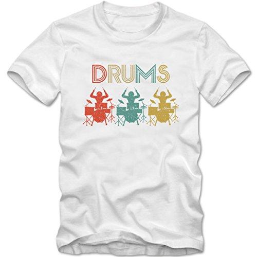 Drums #1 Premium T-Shirt Drums Musiker Instrument Kinder Shirt, Farbe:Weiß (White L190k);Größe:12 Jahre (142-152 cm)