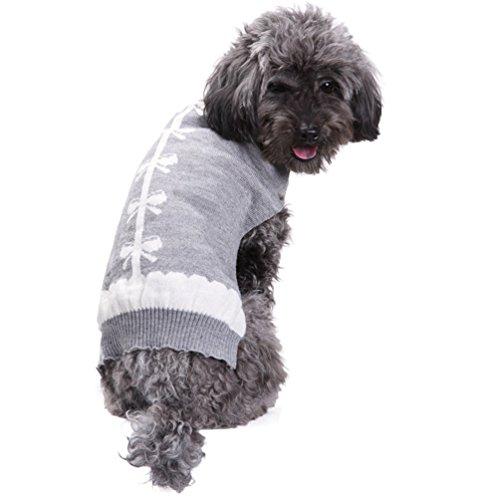 YiJee Haustier Hund Kleidung Strickwaren Kleine Hundchen Winter Warme Stricken Pullover Grau XS