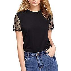 Vetement Femme Pas Cher a la Mode Coton Tee T-Shirt à Manche Courte Femmes Top Sweat Chemise Noir ado Fille Vest Gilet