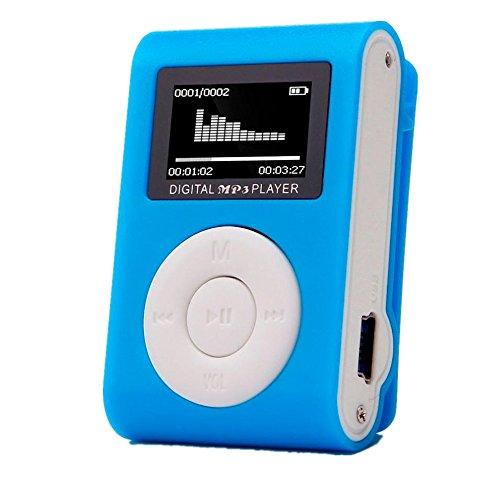 Amlaiworld Mini-LCD-Bildschirm Clip USB MP3-Player Casual Fitness Sport Elektronisch geräte Lässig Urlaub Jogging Musik Player Classic Tragbare Audio Zubehör Unterstützt 32GB SD TF Karte (Blau)