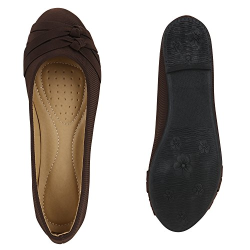 Klassische Damen Ballerinas | Lederoptik Flats | Schuhe Übergrößen | Flache Slipper | Spitze Prints Strass Dunkelbraun