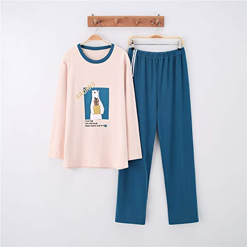 Damen Baumwolle Schlafanzug Pyjama Set Lang Zweiteilige,Paar Baumwolle Langarm Männer und Frauen Anzug zu Hause Service A-1 männlich - Hello Kitty Hunde Kostüm