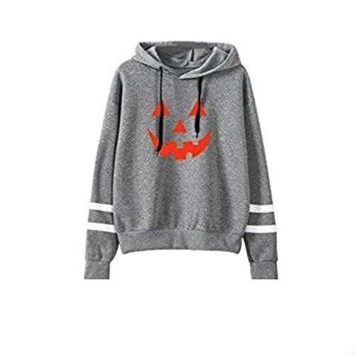 Frauen-Halloween-Kapuzenpullis-Beiläufiges Kürbis-Gedrucktes Sweatshirt-Mit Kapuze Pullover-Oberseiten-Taschen-Lange Hülsen-Oberseiten-Bluse Grau M