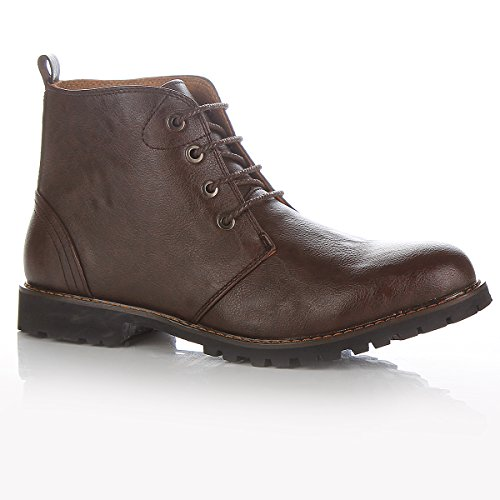 Mens Black/Brown Leather Smart Formal Casual Lace Up Boots Shoes UK Size 7 8 9 10 11 (10, Brown)