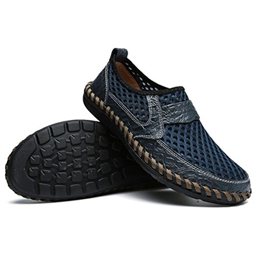 Masche Espadrilles, Gracosy Herren Casual Schuhe aus Masche-Gewebe Echtem Leder Ultra Weich Bequem Atmungsaktiv Bootsschuhe Mokassins Hausschuhe Flache Schuhe Dunkelblau