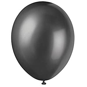 Unique Party Globos Perlados de Látex para Fiestas, 50 Unidades Color negro pack of 50 56885