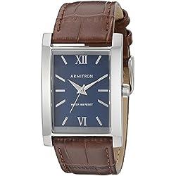 Armitron Men's 20/5118BLSVBN Silver-Tone and Brown Croco-Grain Leather Strap Watch