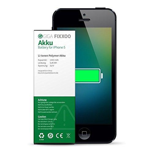 GIGA Fixxoo Batteria agli Ioni di Litio di Ricambio per iPhone 5; Alta Durata e capacità, Apple Compatibile; Guida Video Online per Installazione Facile e Sicura - unità Singola, No Kit