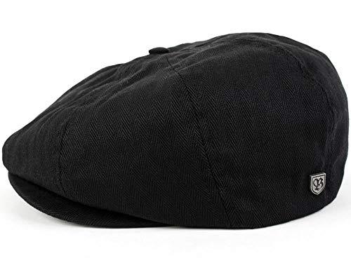 Brixton Brood Newsboy - Casquette - Noir et motif à chevrons - en sergé - Noir - Medium